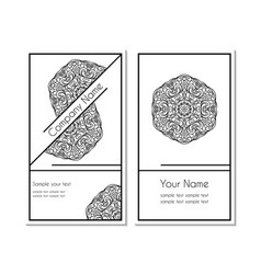 card set round ornamental pattern vector image