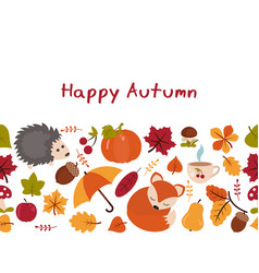 cartoon characters and autumn elements cartoon vector image