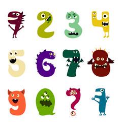 Cartoon flat monsters alphabet big set icons vector