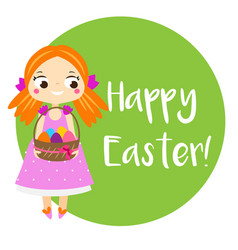 cartoon girl holding easter eggs in basket card vector image