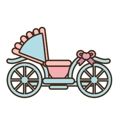 Cartoon wedding carriage retro icon vector