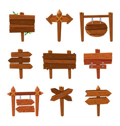 Cartoon wooden arrows vintage wood sign boards vector