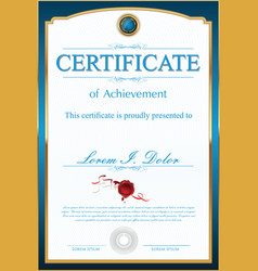 certificate or diploma blue template vector image