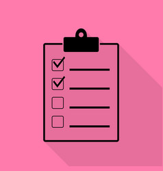 checklist sign black icon with flat vector image