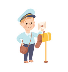 Cheerful boy putting letter in post box depicting vector