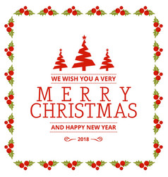 christmas card with cherries frame vector image