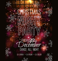 christmas night party poster vector image