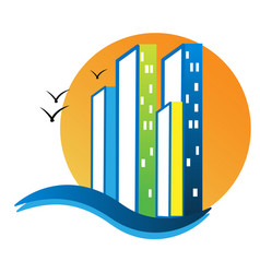 City buildings and sea beach icon vector