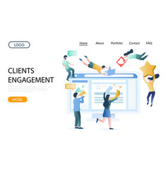 Clients engagement website landing page vector