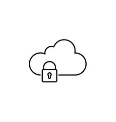 cloud data lock outline icon signs and symbols vector image