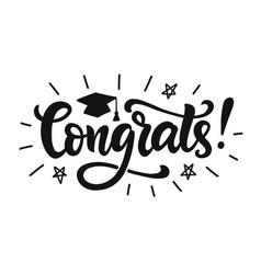Congrats graduation class label banner vector