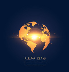 creative golden earth with center light effect vector image