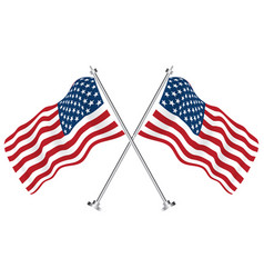 crossed flags usa vector image