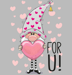 Cute cartoon gnome with heart vector