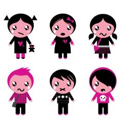 Cute emo kids vector