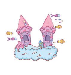 cute fairytale castle in the cloud undersea scene vector image