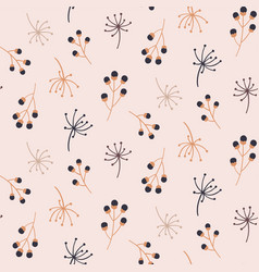 cute seamless pattern with autumn floral elements vector image