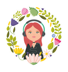 cute woman with earphones and floral decoration vector image