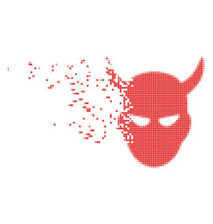 Daemon head dissolved pixel icon vector