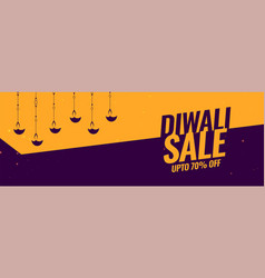 diwali festival sale banner with diya lamp vector image