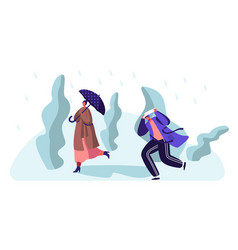 Drenched passerpeople walking against wind and vector