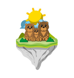 family bear animal in float island vector image