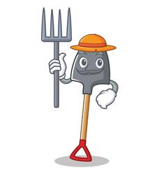 farmer shovel character cartoon style vector image