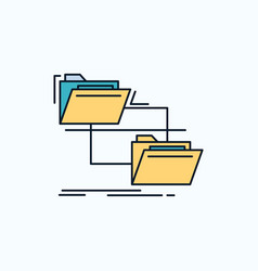 folder file management move copy flat icon green vector image