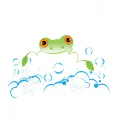 frog with bubbles vector image