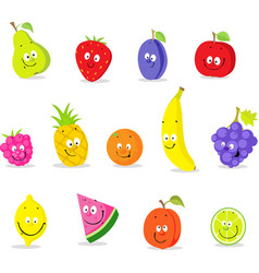 fruit cartoon collection - cute cute illust vector image