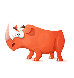funny cute crazy cartoon characters rhino vector image