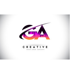 Ga g a grunge letter logo with purple vibrant vector