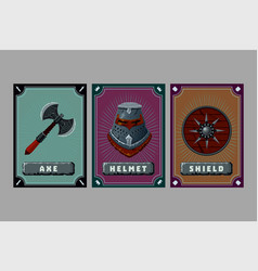 Game asset pack fantasy card with magic items vector