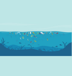 Garbage floating in water vector