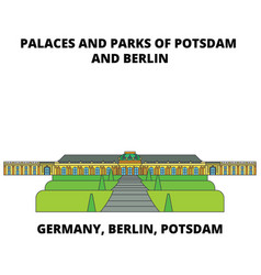 Germany berlin potsdam palaces and parks line vector