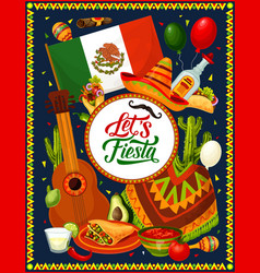 guitar sombrero mexican flag and fiesta food vector image
