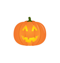 halloween pumpkin with candle inside isolated vector image