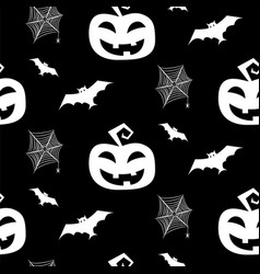 halloween seamless pattern with bats pumpkin and vector image