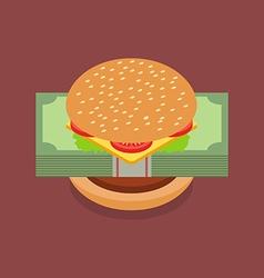 Hamburger with dollar banknotes vector