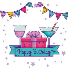 Happy birthday with ribbon and party banner vector