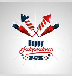 Independence day with fireworks celebration vector