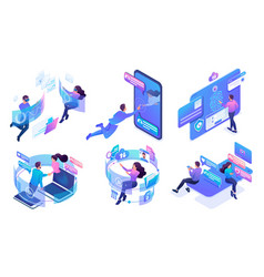 Isometric set bright concepts virtual vector