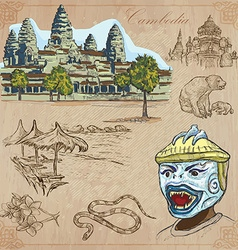 Kingdom of Cambodia - Hand drawn pack vector image