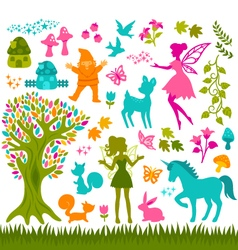 Magic forest silhouetes vector