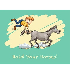 Man holding horse tail vector image