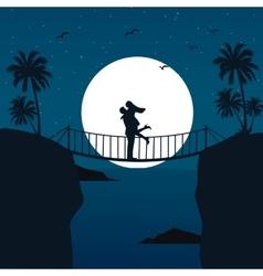 man woman couple hug silhouette with moon vector image