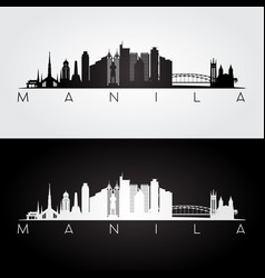Manila skyline and landmarks silhouette vector