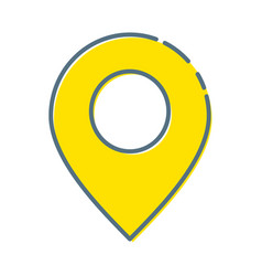 Map pins sign location icon with ellipse in flat vector