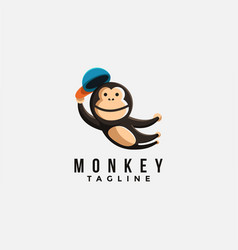 mascot cartoon logo jumping monkey chimp vector image