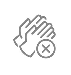 medical gloves with cross checkmark line icon vector image